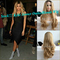 Natural Bombshell Blonde Ombre Synthetic Curly Lace Front Wig Kylie Jenner Long Blonde Lace Front Heat Resistant Wig 180%Density