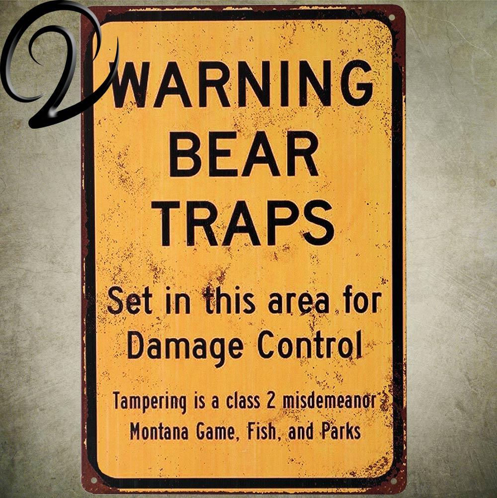 Предупреждение медведя ловушки потертый шик Олово Признаки Настенный декор для Паб парк указать знак Винтаж жесть металлические таблички