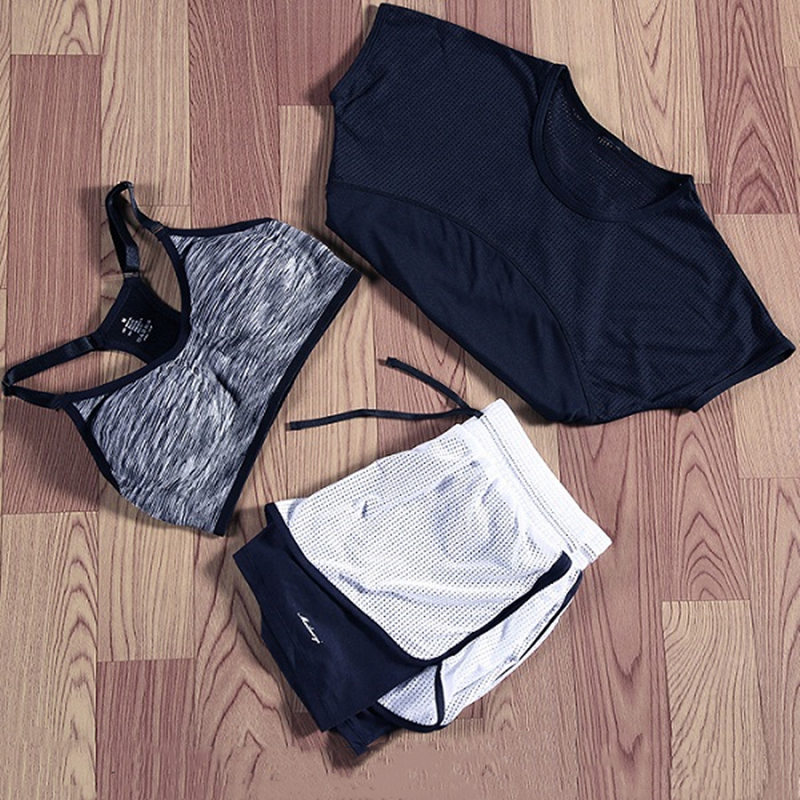 3 PCS Yoga Set Women Gym Clothing Top Bra Vest Running T-Shirt Fitness Shorts Pant Sports Workout Suit Female Sportswear