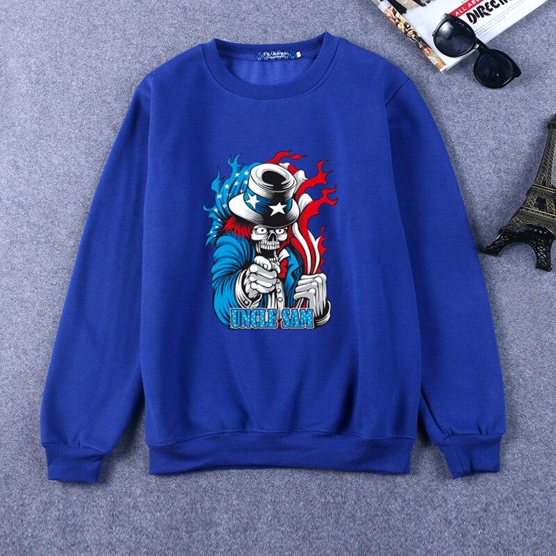 Crewneck Hoodies Long Sleeve Sweatshirts Halloween Uncle Sam Letter Pullover Casual Loose Skull Printed Hoodie Men RW-C10082