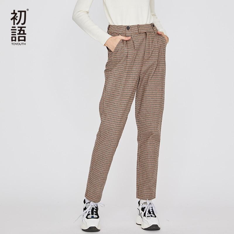 Toyouth свободные Повседневное брюки вышивка плед буквы Для женщин брюки прямые брюки Pantalone Mujer Классическая Pantalon Mujer