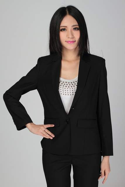 75a650462438f placeholder Plus Size S-3XL Women Wedding Black Pants Suits Work Wear  Single Breasted Business Formal