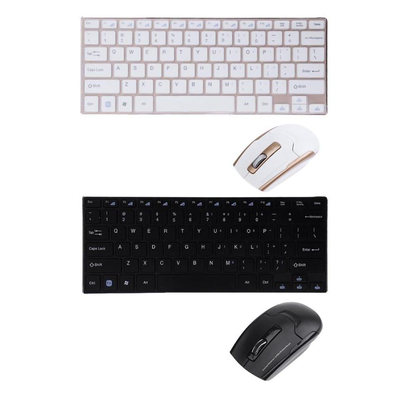 Ergonomic Metal Ultra- 2.4G Wireless Keyboard and Optical Adjustable DPI Mouse Combo Set for PC Computer Laptop