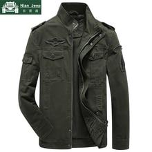 Plus Size Military Jacket Men Spring Autumn Cotton Army Solid Mens Jack