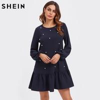 SHEIN Pearl Embellished Flounce Hem Casual Dress Navy Drop Waist A Line Womens Dresses Autumn Long