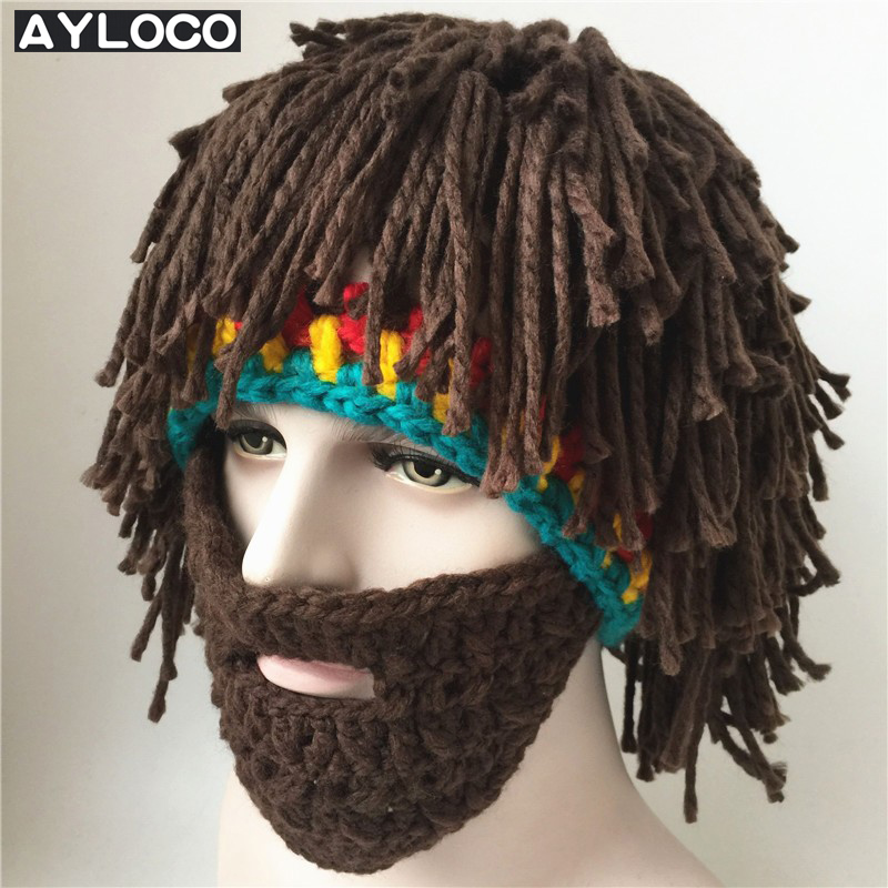 AYLOCO Wig Beard Hats Mad Caveman Handmade Knitted Hats Warm Winter Caps Men Women Halloween Gifts Funny Party Beanies caveman dave