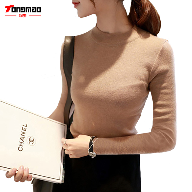 2016Autumn and Winter Women's Casual Long-sleeved Sweater and A Half High Collar Slim Thin Solid Color Sweater Hedging Bottoming