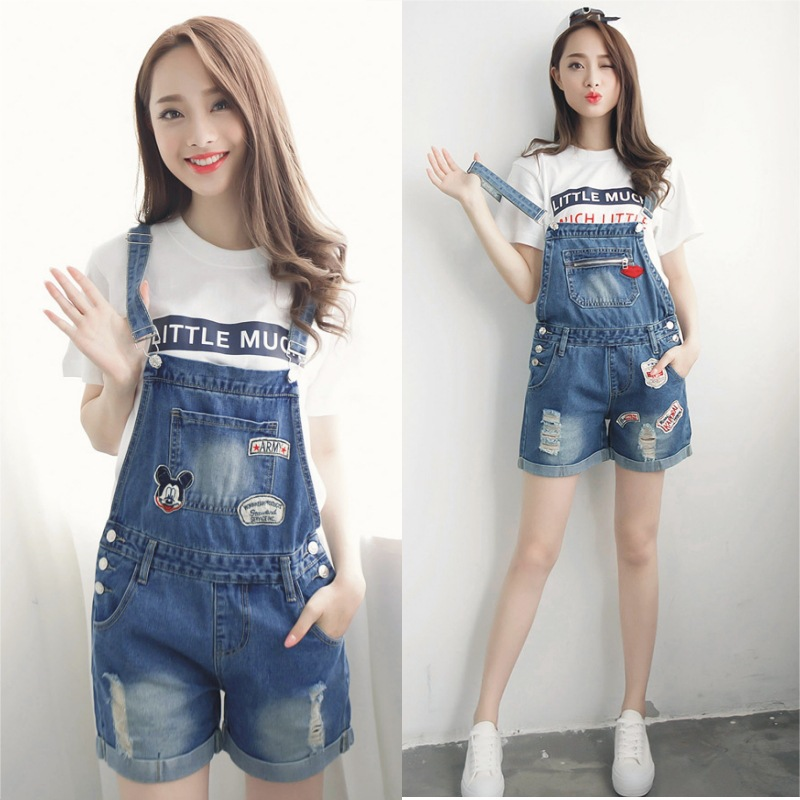 2016 new spring large loose slim casual denim overalls shorts female Korean hot pants Siamese students hot short