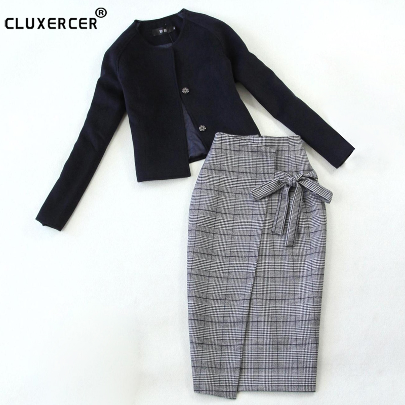 Skirt Suit 2018 NEW spring autumn zipper package hip jacket skirt 2 two Piece Set Fashion