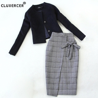 Skirt Suit 2018 NEW spring autumn zipper package hip jacket + skirt 2 two Piece Set Fashion elegant Office Women's Suit