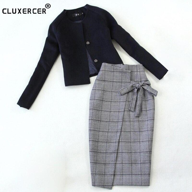 Skirt Suit 2018 NEW spring autumn zipper package hip jacket + skirt 2 two Piece Set Fashion elegant Office Women's Suit
