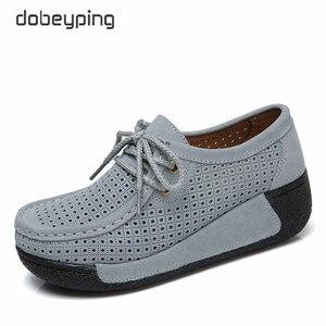 Image 3 - 2018 חדש אביב קיץ פרה זמש עור נעלי אישה שרוכים שטוח פלטפורמת נשים נעלי נשים של נעלי מוקסינים נקבה סניקרס