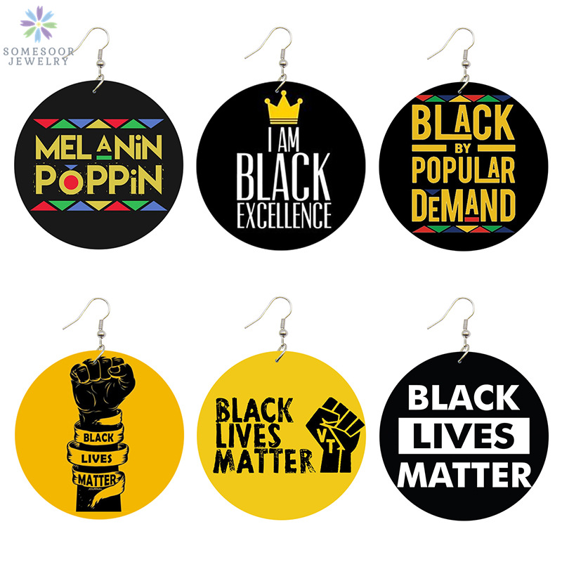 SOMESOOR Black Lives Matter Saying Trendy Women Print Jewelry Natural Wood Drop Earrings Melanin Poppin Afro Power Fist Pattern