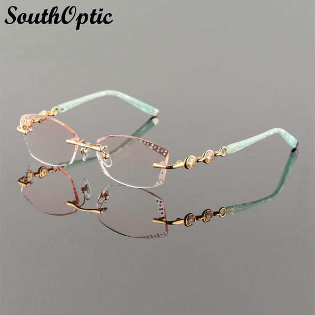 2016 New Rimless Korean Women Optical Frame Including 1.61 Asphereic Tinted HMC UV400 EMI Lens Titanium Rimless 58102 Spectacles