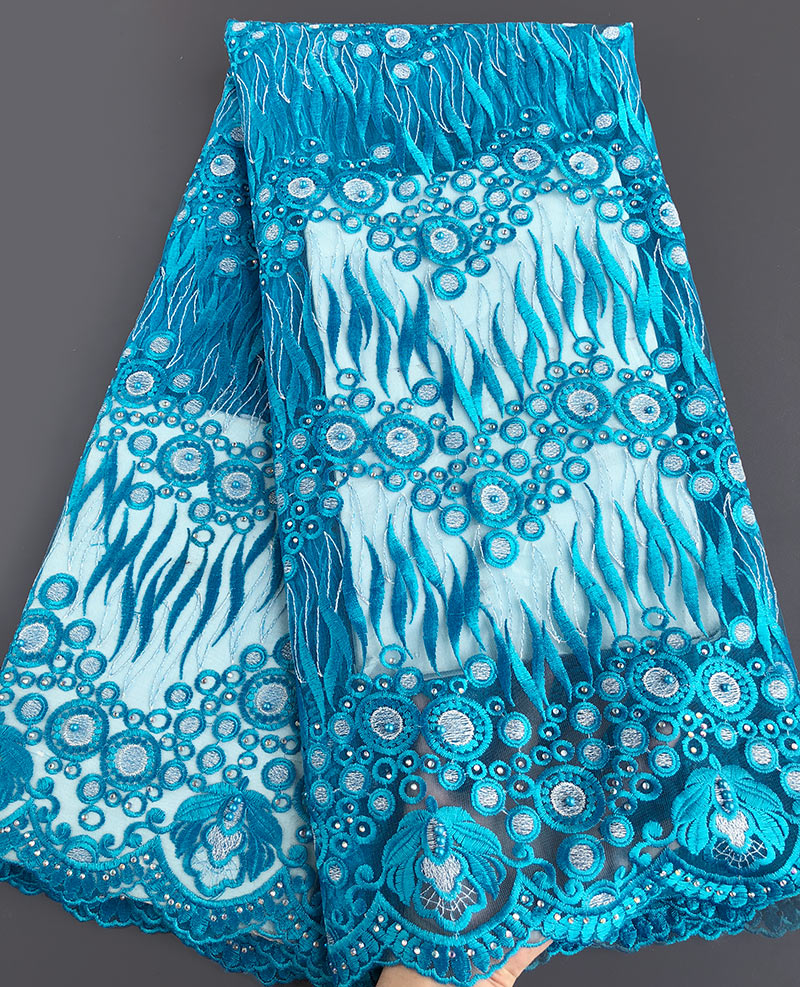 neat embroidery Turquoise blue African french lace Soft Nigerian tulle lace fabric for celebration church 5