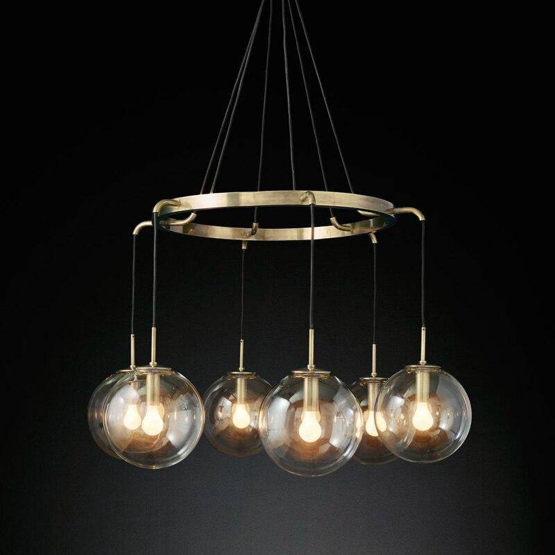 American Retro RH Loft Luminarias Led Chandelier Gold/Black Metal Glass Globes Shades Pendant Chandelier Lighting Fixtures