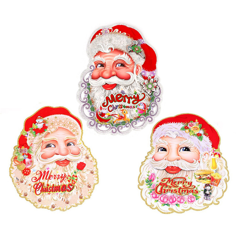 Removable Wall Sticker Santa Claus Carrying Gifts Outside of Window on Christmas Wholesale Free Shipping 4RC02