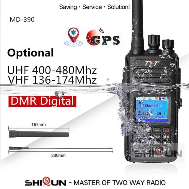 Hot dmr tyt MD 390 rádio dmr com gps impermeável ip67 walkie talkie md 390 rádio digital de banda dupla vhf uhf dmr baofeng