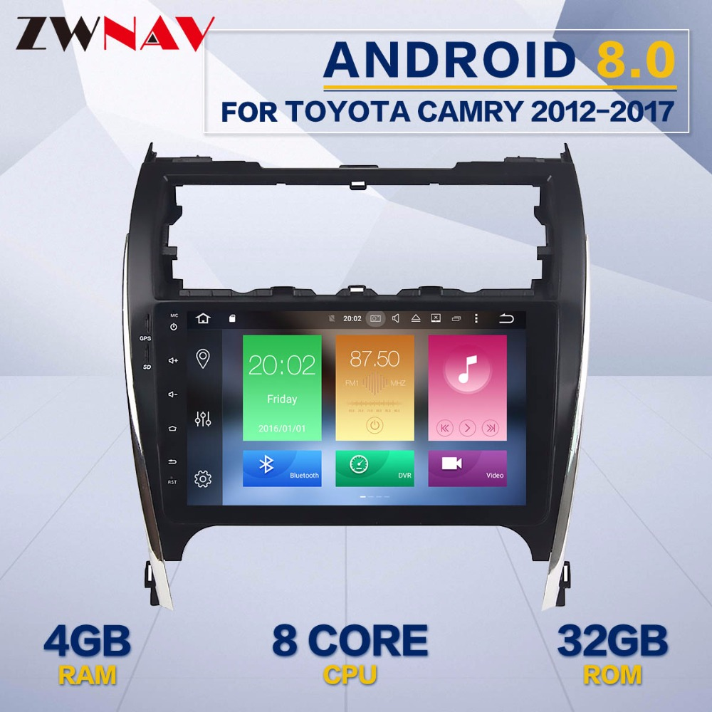 цена на ZWNAV 8 Core Android 8.0 4+32GB Car GPS Navigation Radio No DVD Player Headunit For Toyota Camry 2012 2013 2014 2015 2016 2017