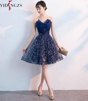 Short Evening Dress YIDINZGS Navy Blue Sequins Pleat V-neck Formal Evening Party Dress 5