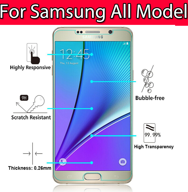 on sale!new design 0.26mm Tempered Glass For Samsung Galaxy S3 S4 S5 S6 S7 J5 NOTE 2 3 4 5 Screen Protector Film