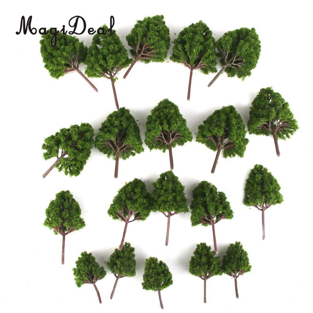 MagiDeal 20Pcs Mix Plastic Model Trees Train Railroad Scenery Dark Green HO N Z Scale for Street Railway Garden Classroom Layout
