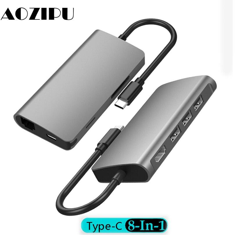 8-en-1 USB type-c Station d'accueil à USB 3.0*3 RJ45 SD TF PD chargement aluminium USB-C HUB pour MacBook Samsung Galaxy S8 S9 Note8