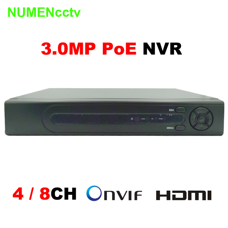 4/8CH Onvif 48V 3MP/2MP Standalone Real PoE NVR Network Video Recorder for PoE IP Cameras with Goolink P2P Cloud Service 2014 sale 4ch onvif full hd 48v real poe 80 100m nvr kits with 720p varifocal 2 8 12mm lens ip cameras p2p cloud service