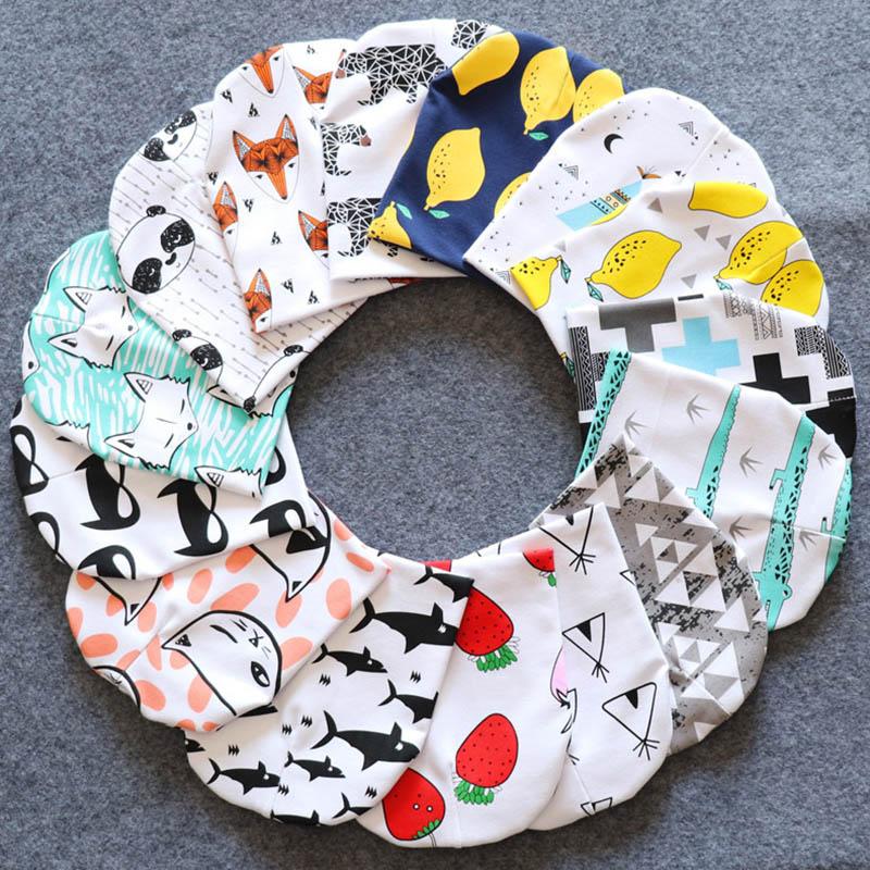 Fashion Baby Boy Hat Cartoon Printed Baby Girl Hat 100%Cotton Knitting Newborn Photography Props Animals Pattern Newborn Hat цена 2017