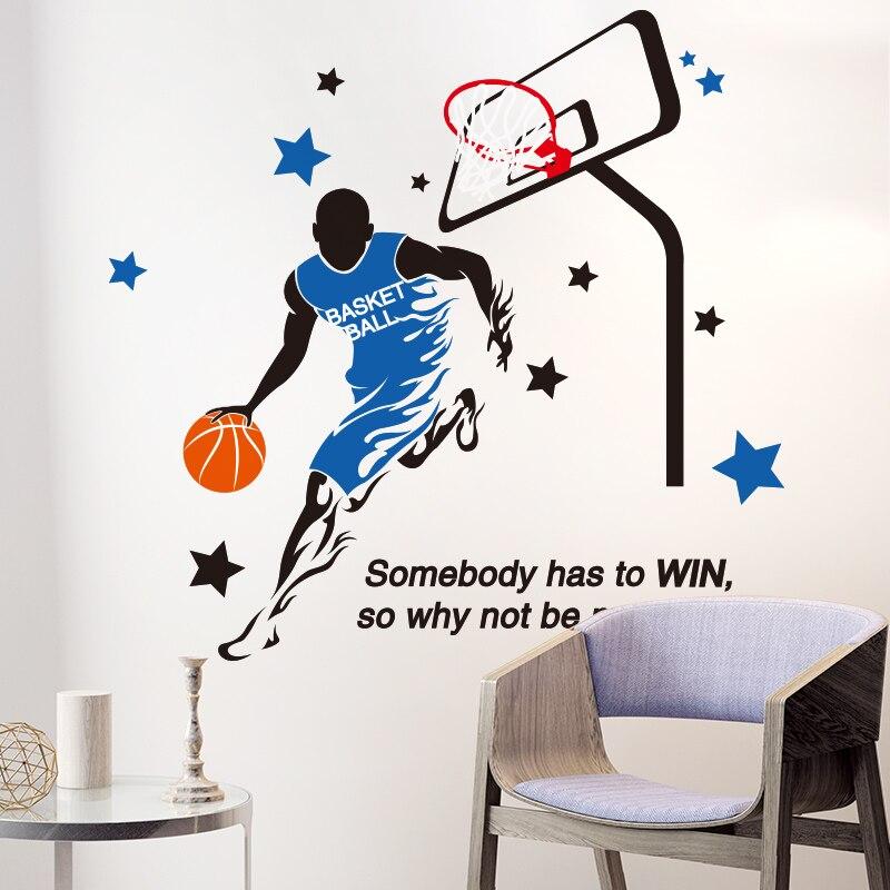 [SHIJUEHEZI] Jogando Basquete Adesivo de Parede Criativo Jogador DA NBA Esportes Decalques para Sala de estar Crianças Quarto Adesivos De Parede parede