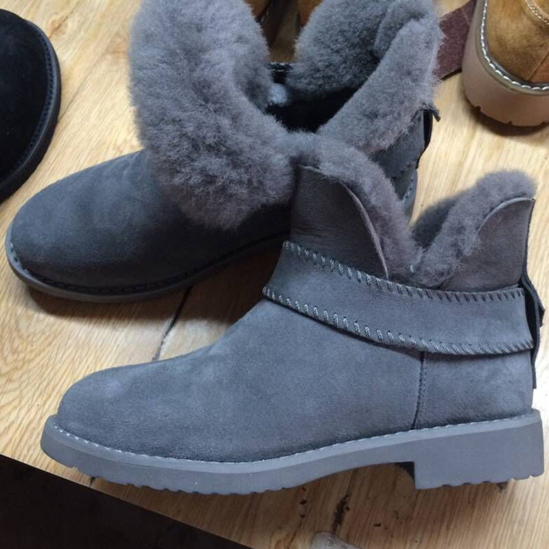 Hemmyi genuine leather fur snow boots 100% wool women ankle boots High-quality warm winter shoes Australian style lady shoes