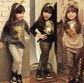 Mejor niña vendedora de conjuntos de ropa juego de los niños de otoño de la muchacha del traje de leopardo de manga larga camisetas + pantalones de leopardo