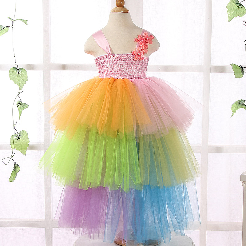 New Design Formal Kids Baby Girl Rainbow Tutu Dress Bridesmaid Flower Girl Dresses Princess Pageant Prom Wedding Party Dresses handmade tulle flower girl dress princess flower tutu dresses children kid baby pageant bridesmaid wedding party formal dresses