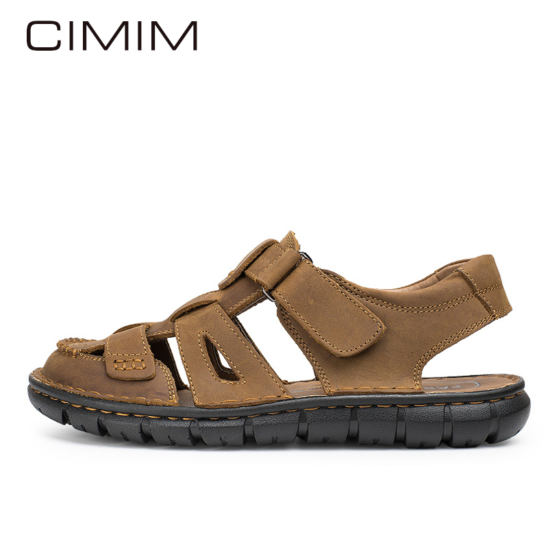 CIMIM Mens Sandals Genuine Leather Men Soft Casual Shoes Flat Shoes Man Fashion Outdoor Breathable Comfort Man Sandals Slippers