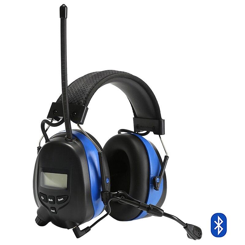 Protezione Acustica elettronica Bluetooth Cuffie con Riduzione Del Rumore Del Microfono Tattico di Protezione per le Orecchie AM/FM Radio Cuffie