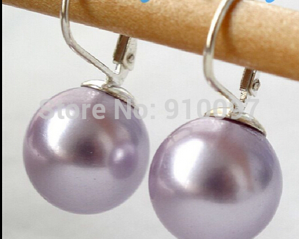 12 Mm Round Black south sea shell pearl earring