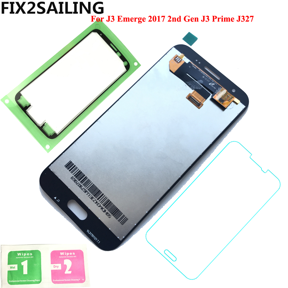 FIX2SAILING 100% Working AMOLED LCD Display Touch Screen Assembly For Samsung Galaxy J3 Emerge 2017 2nd Gen J3 Prime J327