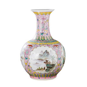 Big-Vase Hand-Painted Ceramic Chinese Decor Jingdezhen Antique Home L for Hotel Famille-Rose