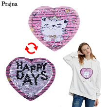 Prajna Crown Cat Sequins Patch Cats Puss Happy Days Reversible Sequin Change Color Jeans Applications For Clothes Baby Jacket(China)