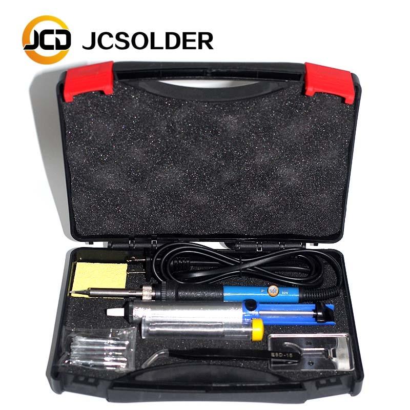 JCDsolder 60 w 220 v Temperatura Regolabile Saldatore Kit + 5 Punte + Dissaldatura Pompa di Saldatura + Saldatore Stand + pinzette + Solder Wire