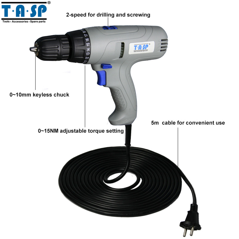 US $54 99 |TASP 220V 280W 2 Speed Electric Screwdriver 0~15NM Torque  Adjustable Drill Set with 5m Cable-in Electric Screwdrivers from Tools on