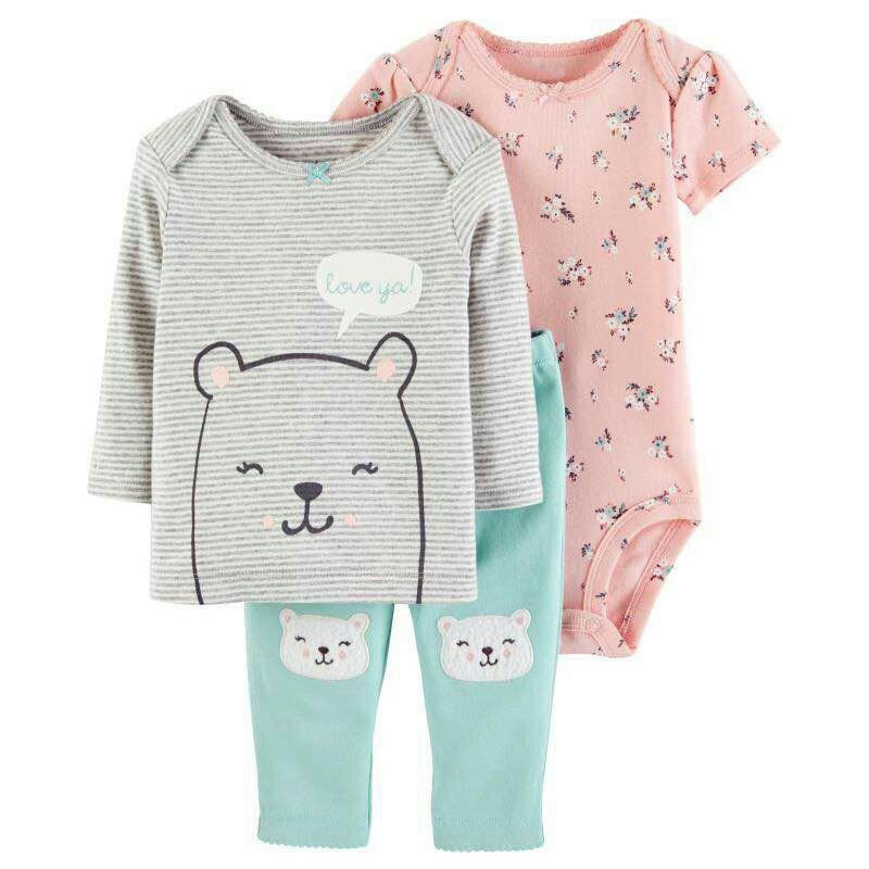 Baby Clothes Set Cute Cartoon 3pcs Long Sleeve T Shirt Bodysuit Pants Baby Girl Flower Clothes Baby's Set Baby Boy Clothing цена