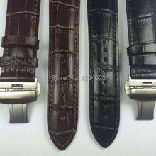 22 мм(Пряжка 20 мм) T086407 высокое качество Серебряная Бабочка Пряжка+ черный коричневый Натуральная кожа ремешок для часов