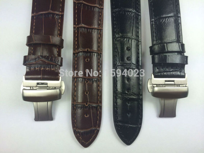 22mm (Buckle20mm) T086407 High Quality Silver Butterfly Buckle + Black Brown Genuine Leather Watch Bands Strap
