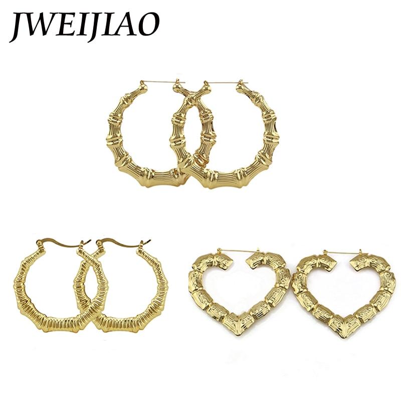 Jweijiao Big Bamboo Hoop Earrings Heart Shape Ethnic