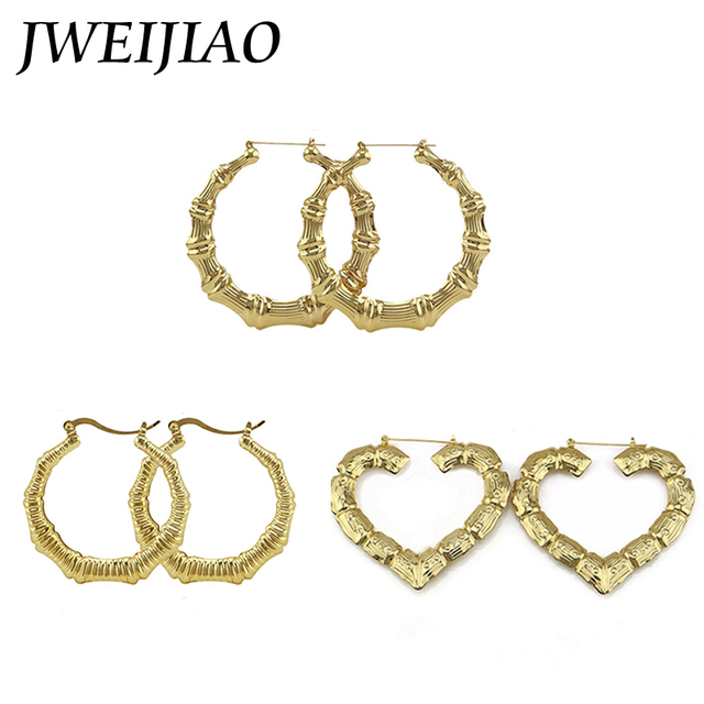 JWEIJIAO Big Bamboo Hoop Earrings Heart Shape Ethnic Basketball ...