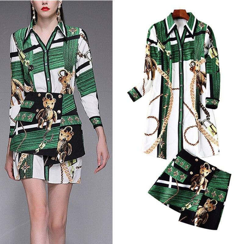 2019 Runway Designer Anzug Set Frauen Grün Lange Shirts Bluse Drucken Tops + Nette Bär Kette Druck Rock Anzüge Set Ns202