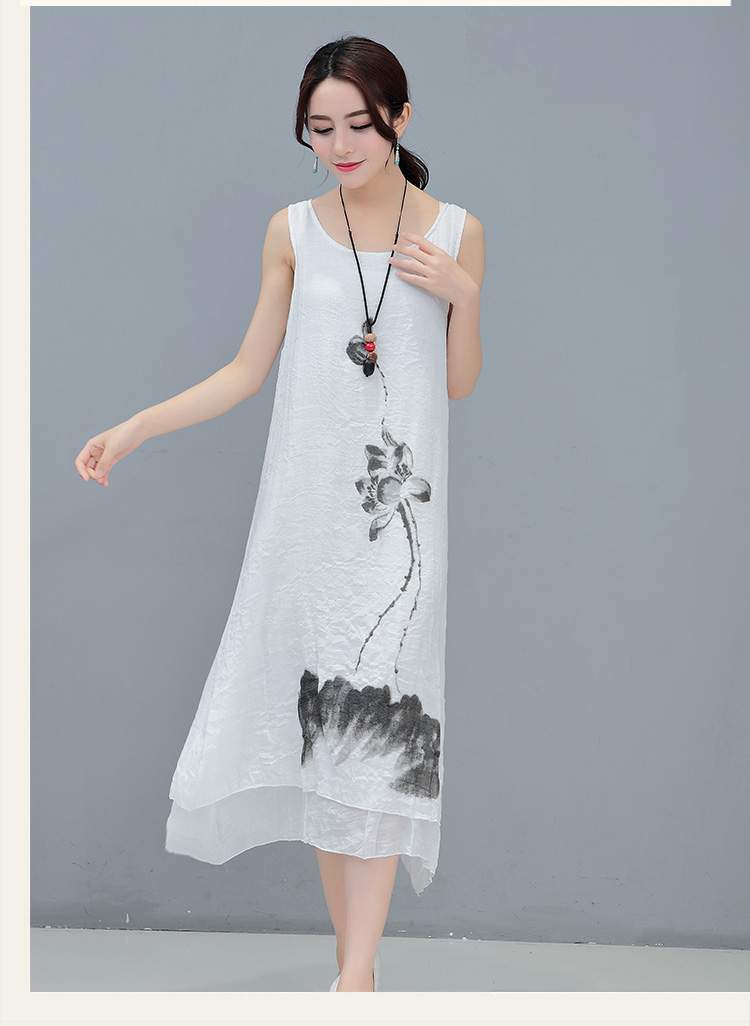2018 Free Shipping Fashion New Summer Dress Printing Art Retro Temperament Linen Vest Cotton Style Folk Women Work Wear Dresses in Dresses from Women 39 s Clothing