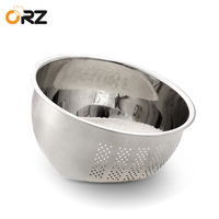 ORZ Stainless Steel Wash Rice Strainer Colander Sieve Fruit Vegetable Grains Washing Bowl Basket Kitchen Drainer Cooking Tools