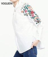 VOGUE N New Womens Floral Embroidered Shoulder 3 4 Sleeve Pullover Blouse Tops Shirt Wholesale Size
